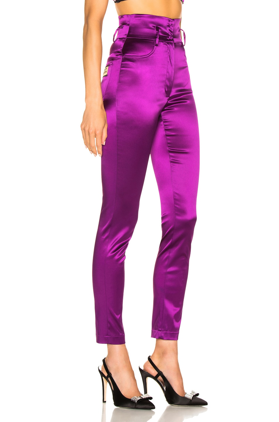 Image 2 of Dolce & Gabbana High Waisted Satin Pants in Magenta