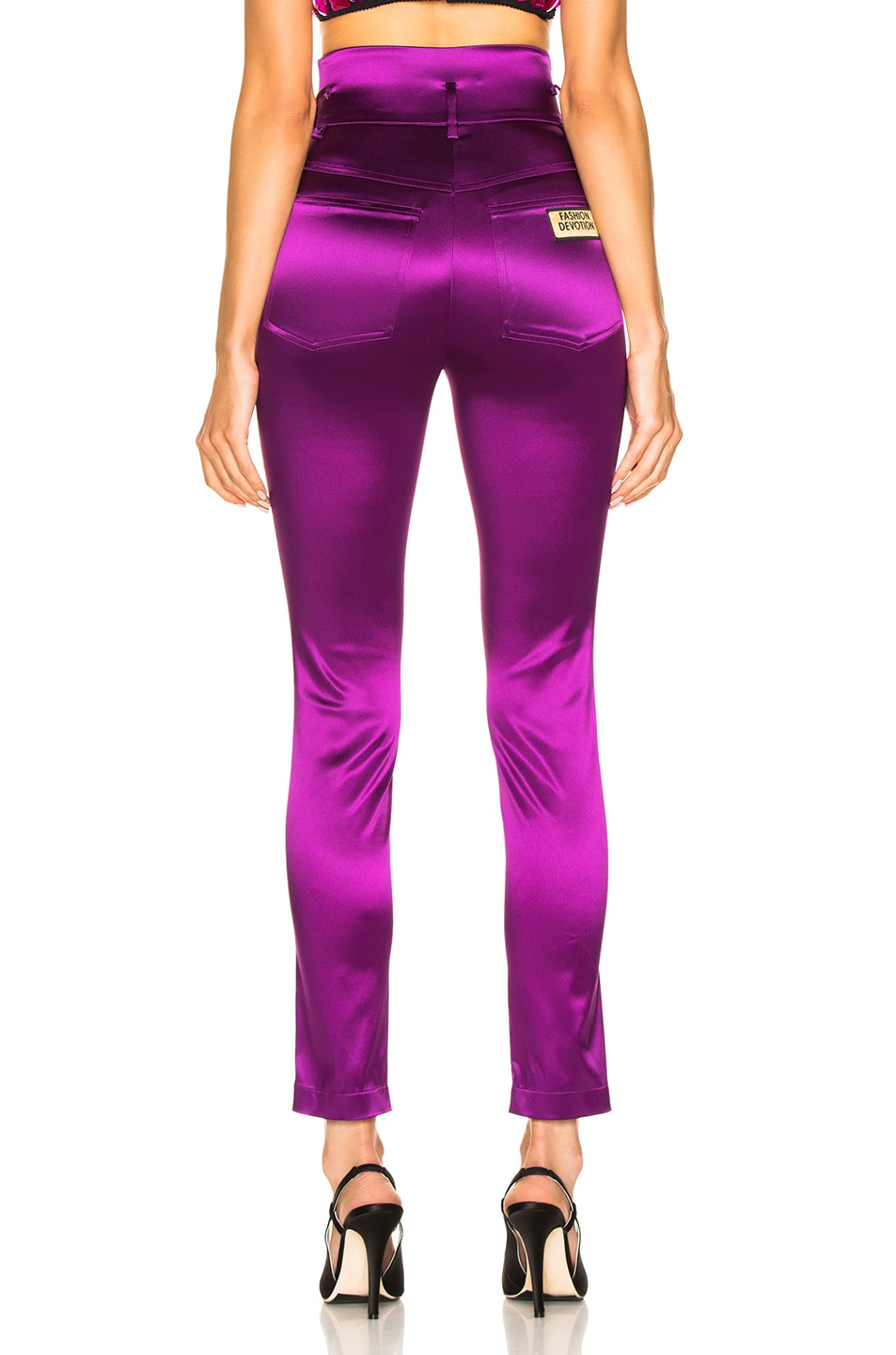 Image 3 of Dolce & Gabbana High Waisted Satin Pants in Magenta