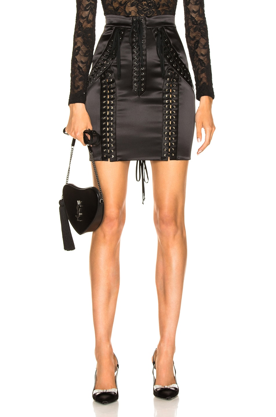 Image 1 of Dolce & Gabbana Lace Up Satin Skirt in Black