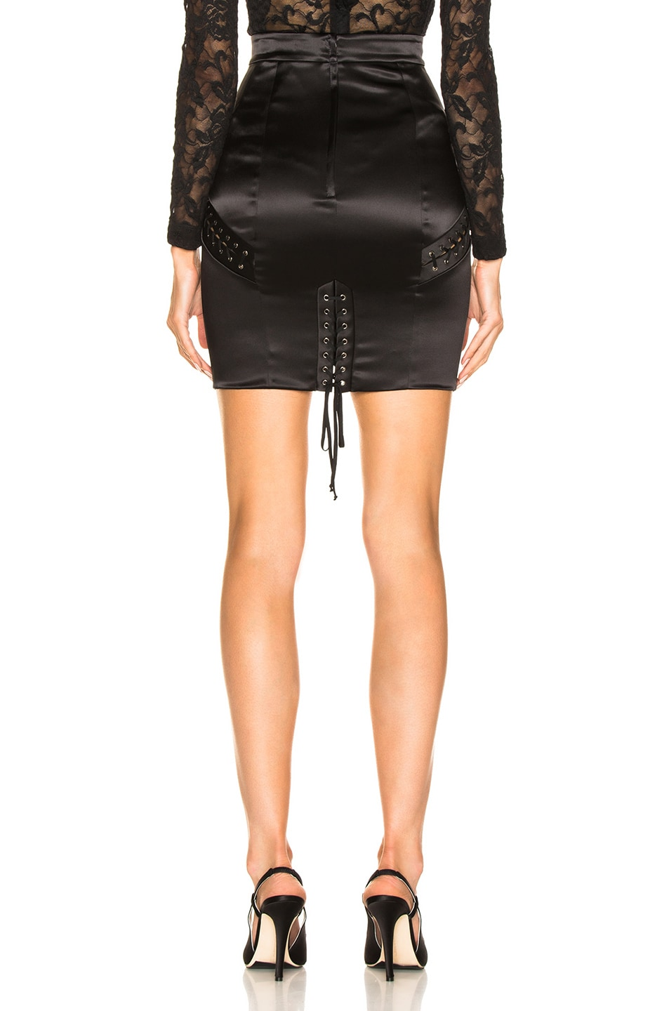 Image 3 of Dolce & Gabbana Lace Up Satin Skirt in Black