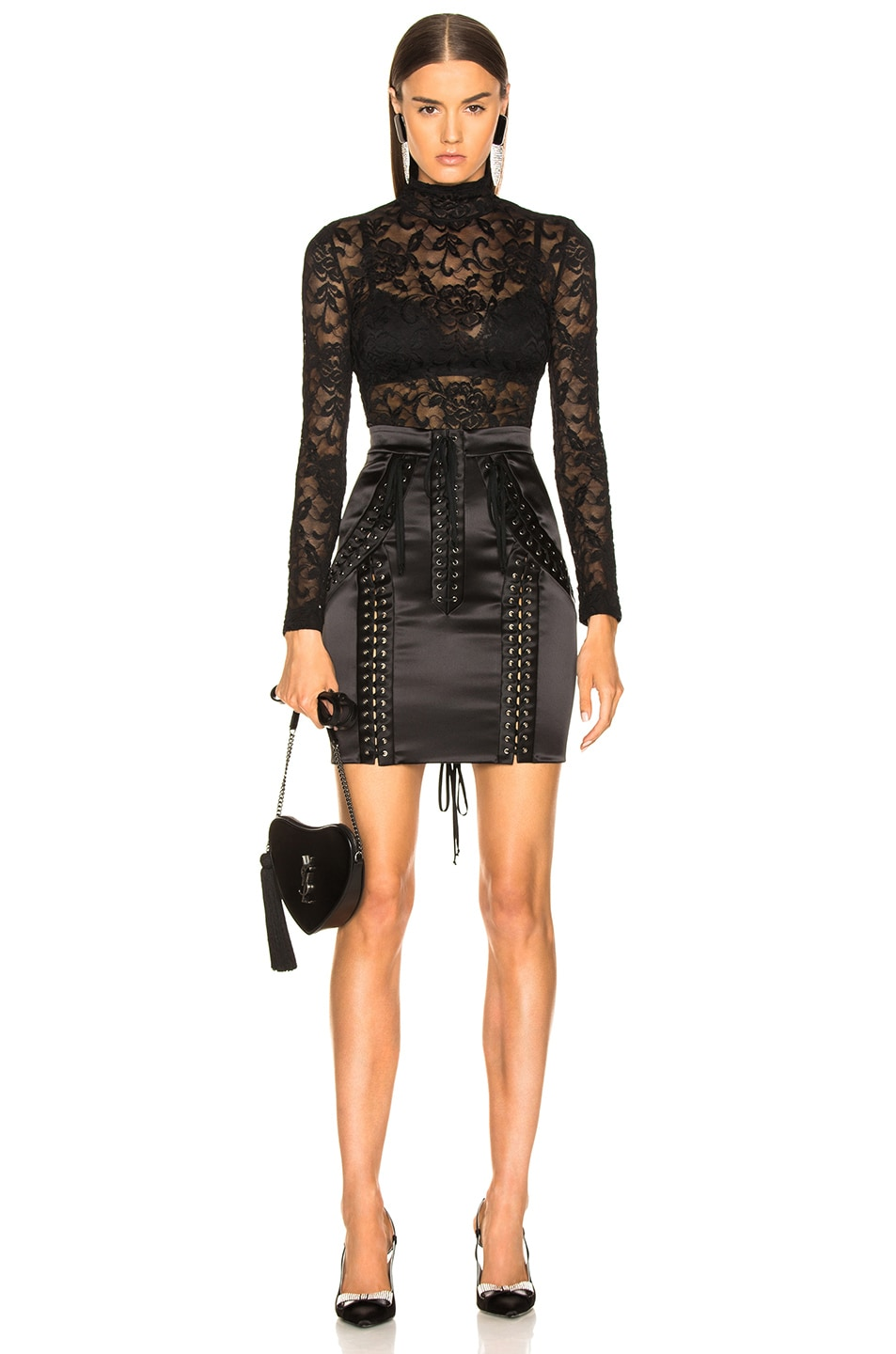 Image 4 of Dolce & Gabbana Lace Up Satin Skirt in Black