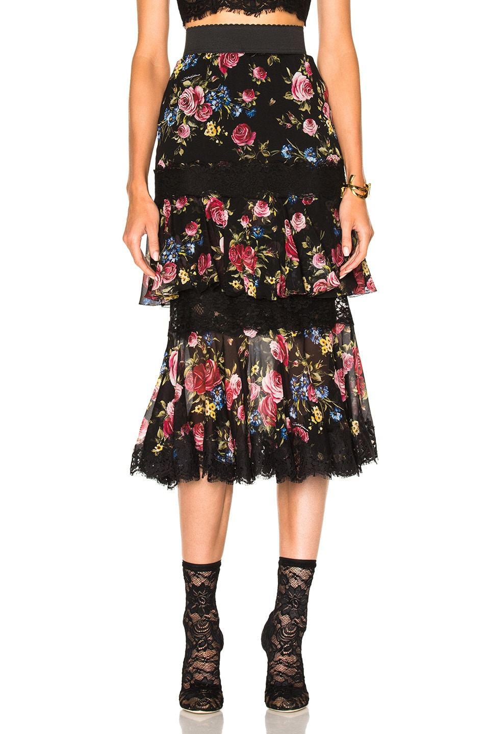 Image 1 of Dolce & Gabbana Tiered Skirt in Black Floral