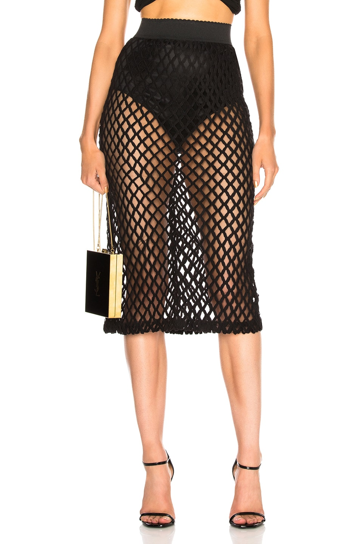 Image 1 of Dolce & Gabbana Knit Midi Skirt in Black