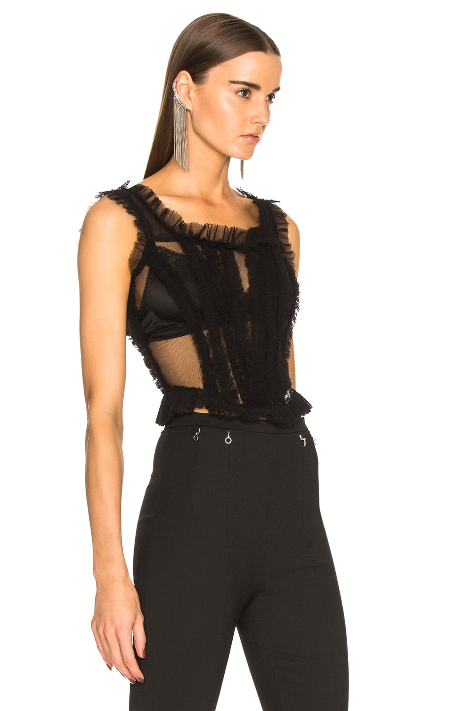 Image 2 of Dolce & Gabbana Tulle Sleeveless Square Neck Top in Black