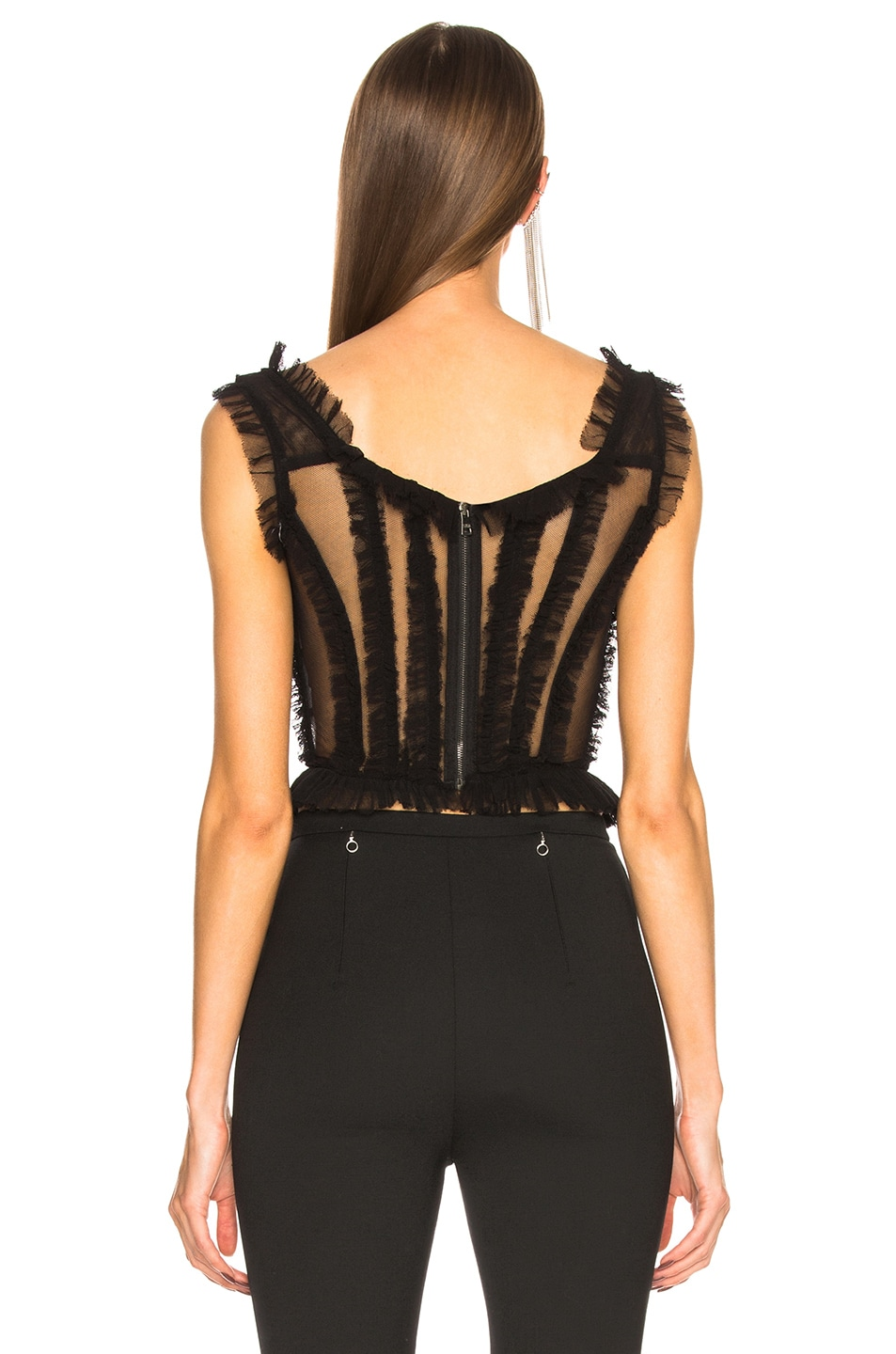 Image 4 of Dolce & Gabbana Tulle Sleeveless Square Neck Top in Black