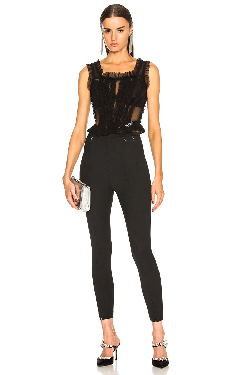 Image 5 of Dolce & Gabbana Tulle Sleeveless Square Neck Top in Black