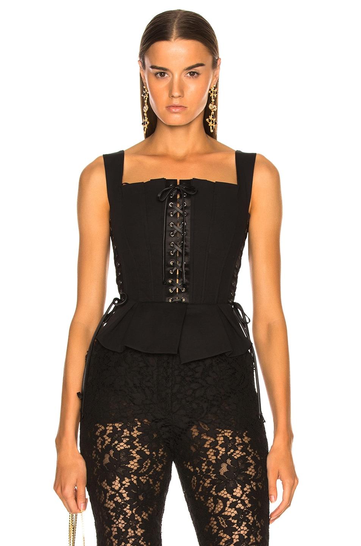 Image 1 of Dolce & Gabbana Corset Tank Top in Black