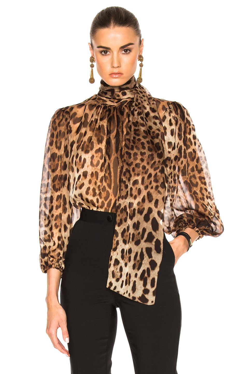 Image 1 of Dolce & Gabbana Chiffon Leopard Print Blouse in Natural