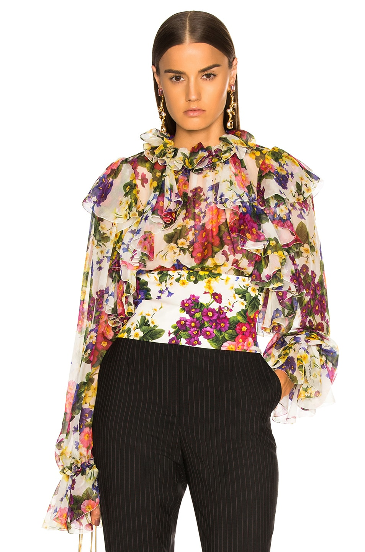 Image 1 of Dolce & Gabbana Fiorellini Print Chiffon Ruffle Neck Blouse in White Multicolor