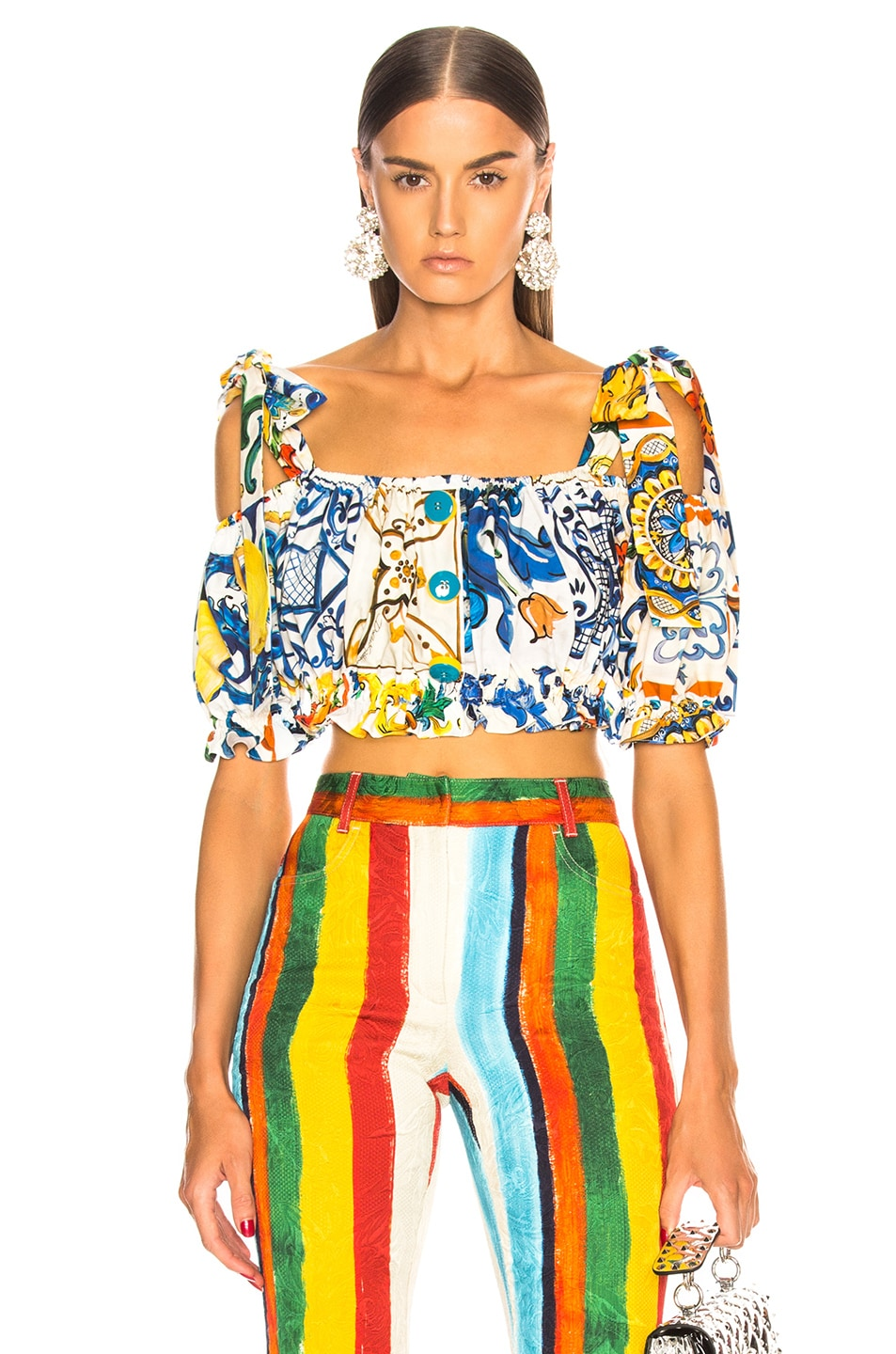 Image 1 of Dolce & Gabbana Maiolica Print Cropped Blouse in White & Blue