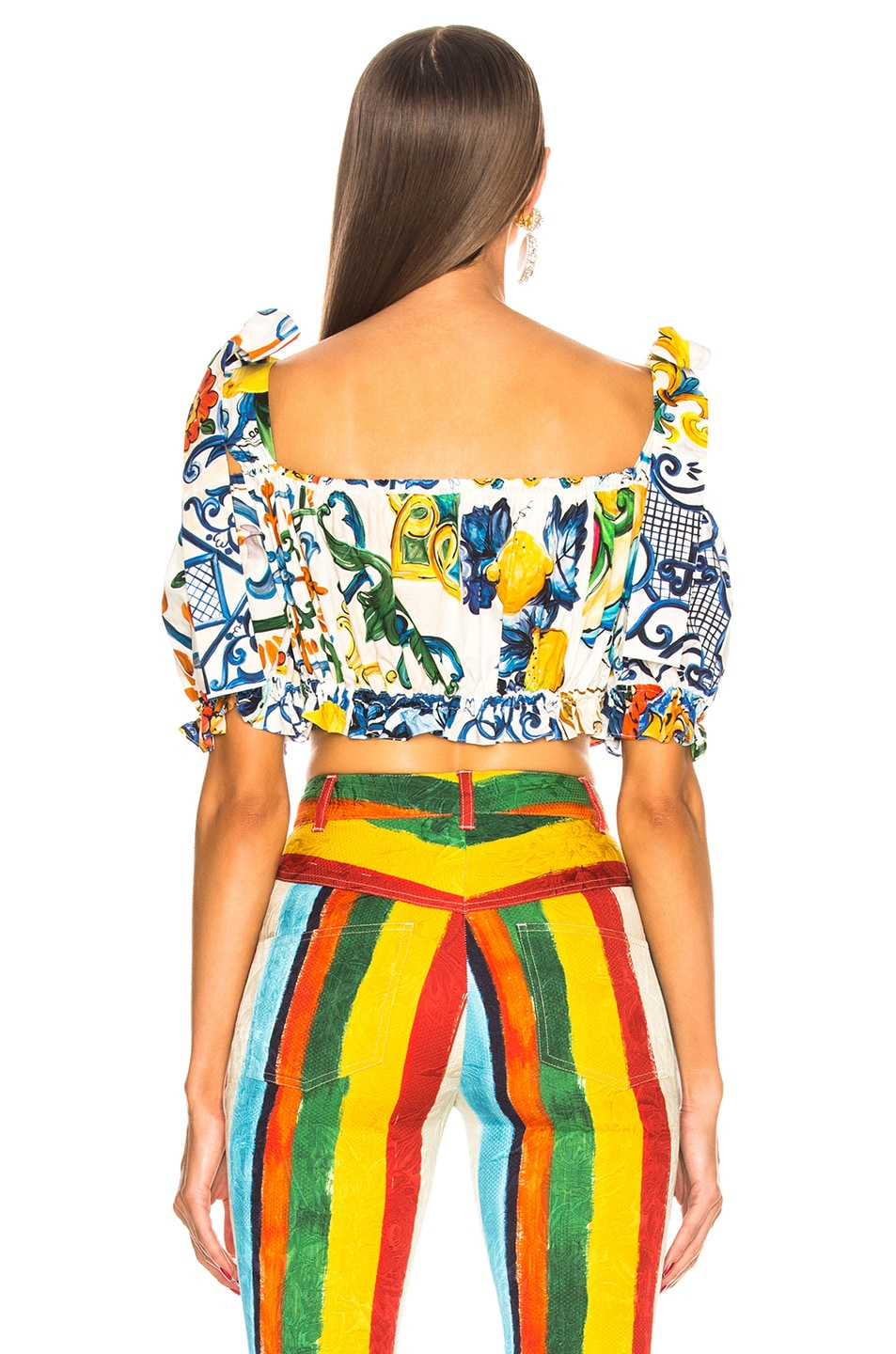 Image 3 of Dolce & Gabbana Maiolica Print Cropped Blouse in White & Blue