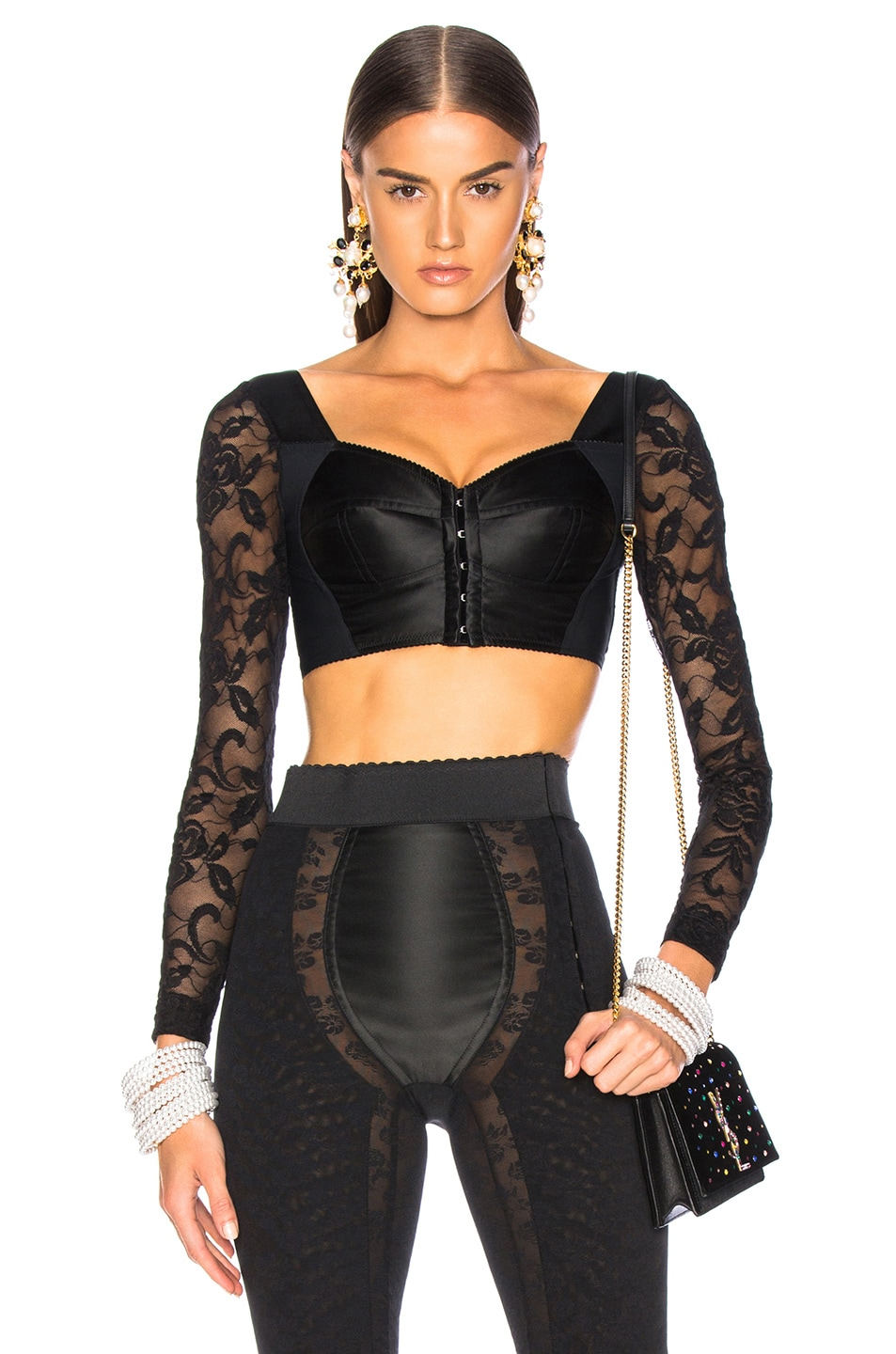 Image 1 of Dolce & Gabbana Lace & Satin Long Sleeve Bustier in Black