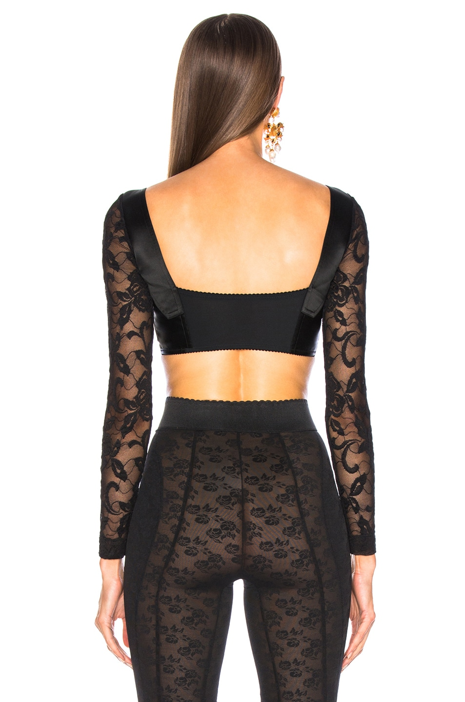 Image 4 of Dolce & Gabbana Lace & Satin Long Sleeve Bustier in Black