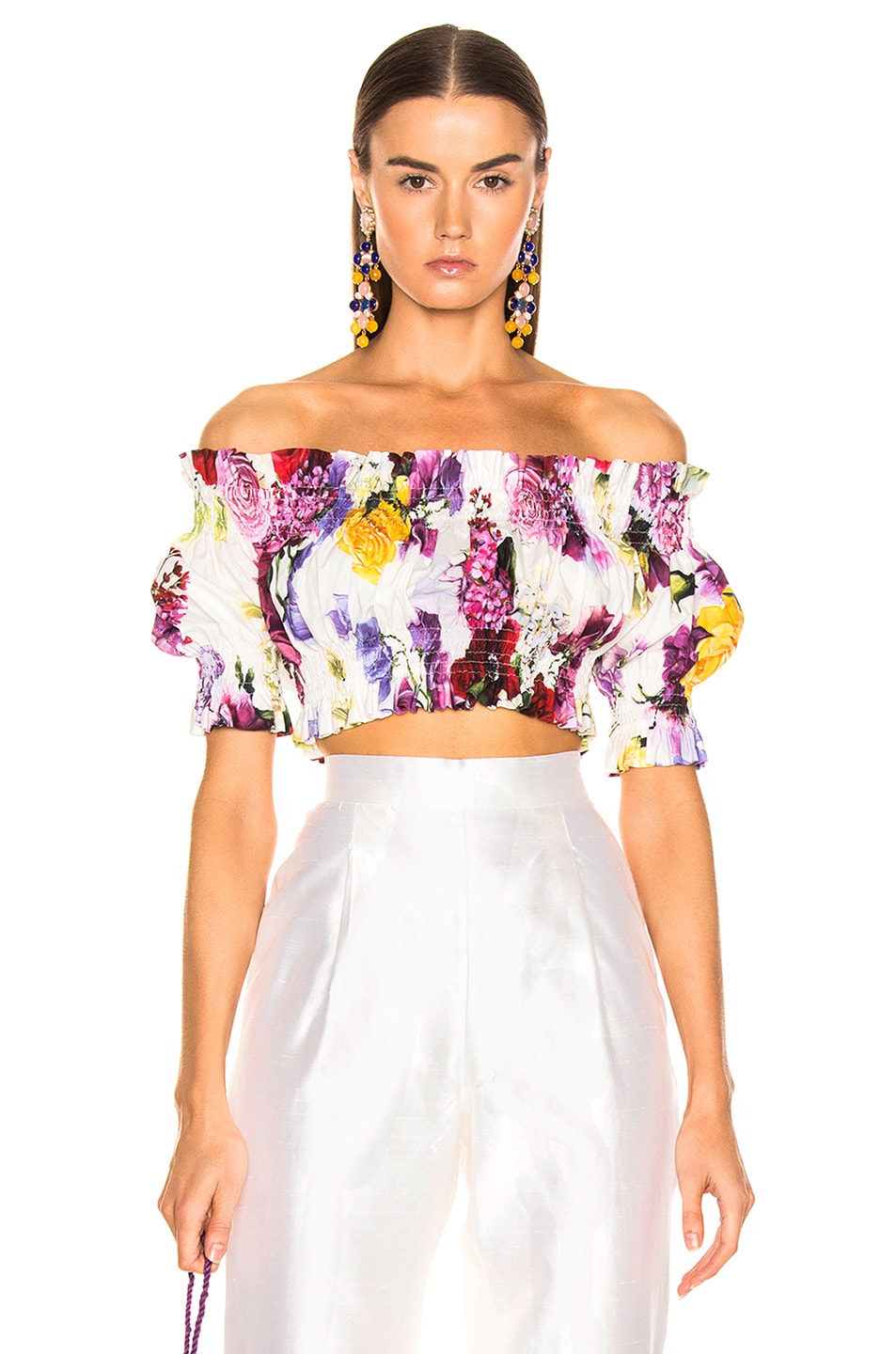 Image 1 of Dolce & Gabbana Multi Floral Off the Shoulder Crop Top in White Multi