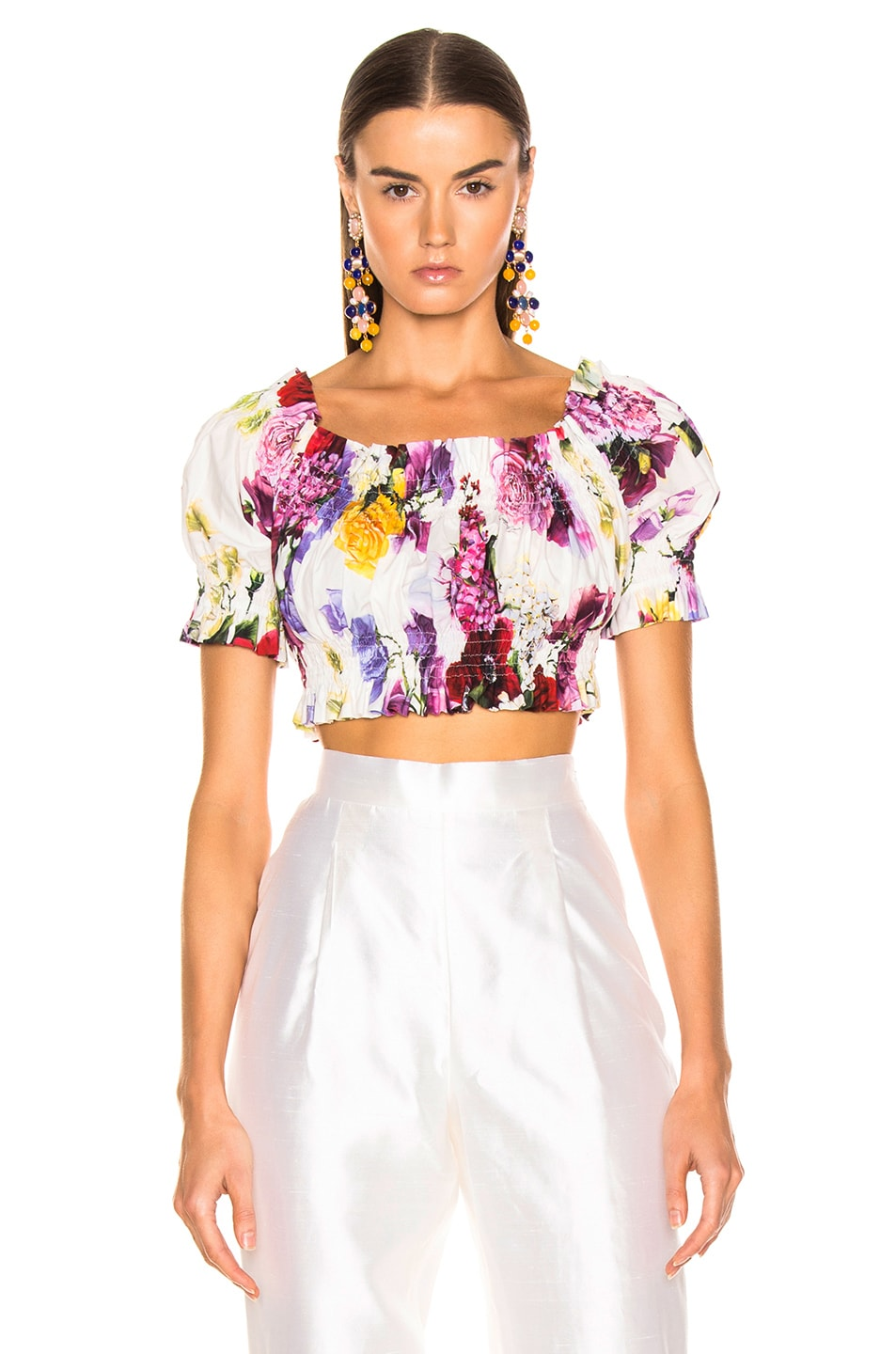 Image 2 of Dolce & Gabbana Multi Floral Off the Shoulder Crop Top in White Multi