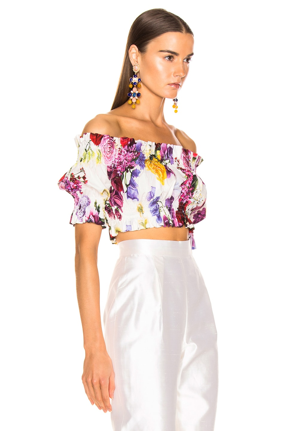 Image 3 of Dolce & Gabbana Multi Floral Off the Shoulder Crop Top in White Multi