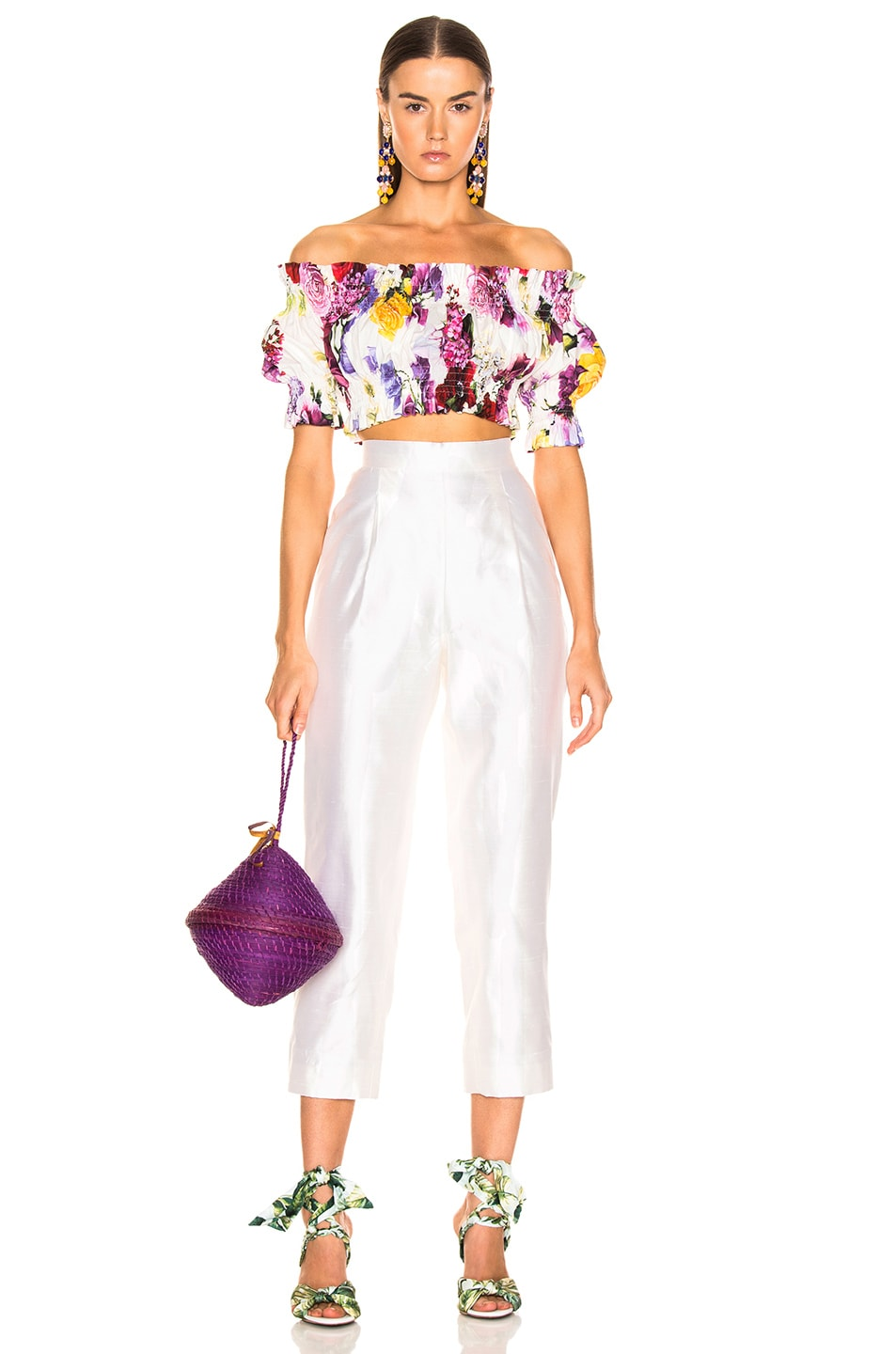 Image 5 of Dolce & Gabbana Multi Floral Off the Shoulder Crop Top in White Multi