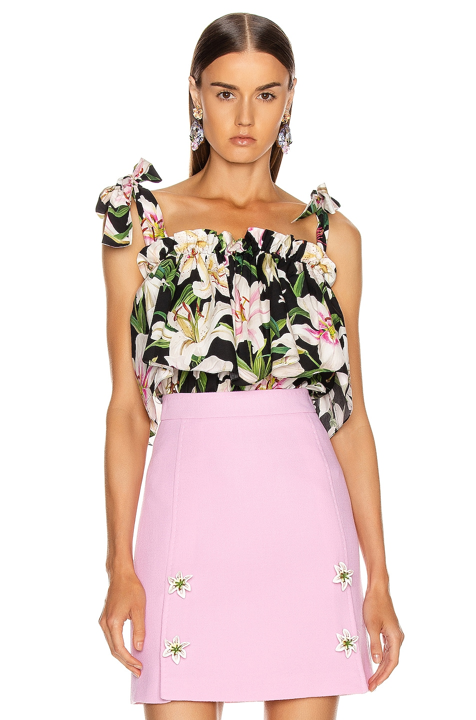 Image 1 of Dolce & Gabbana Floral Lilium Poplin Top in Black