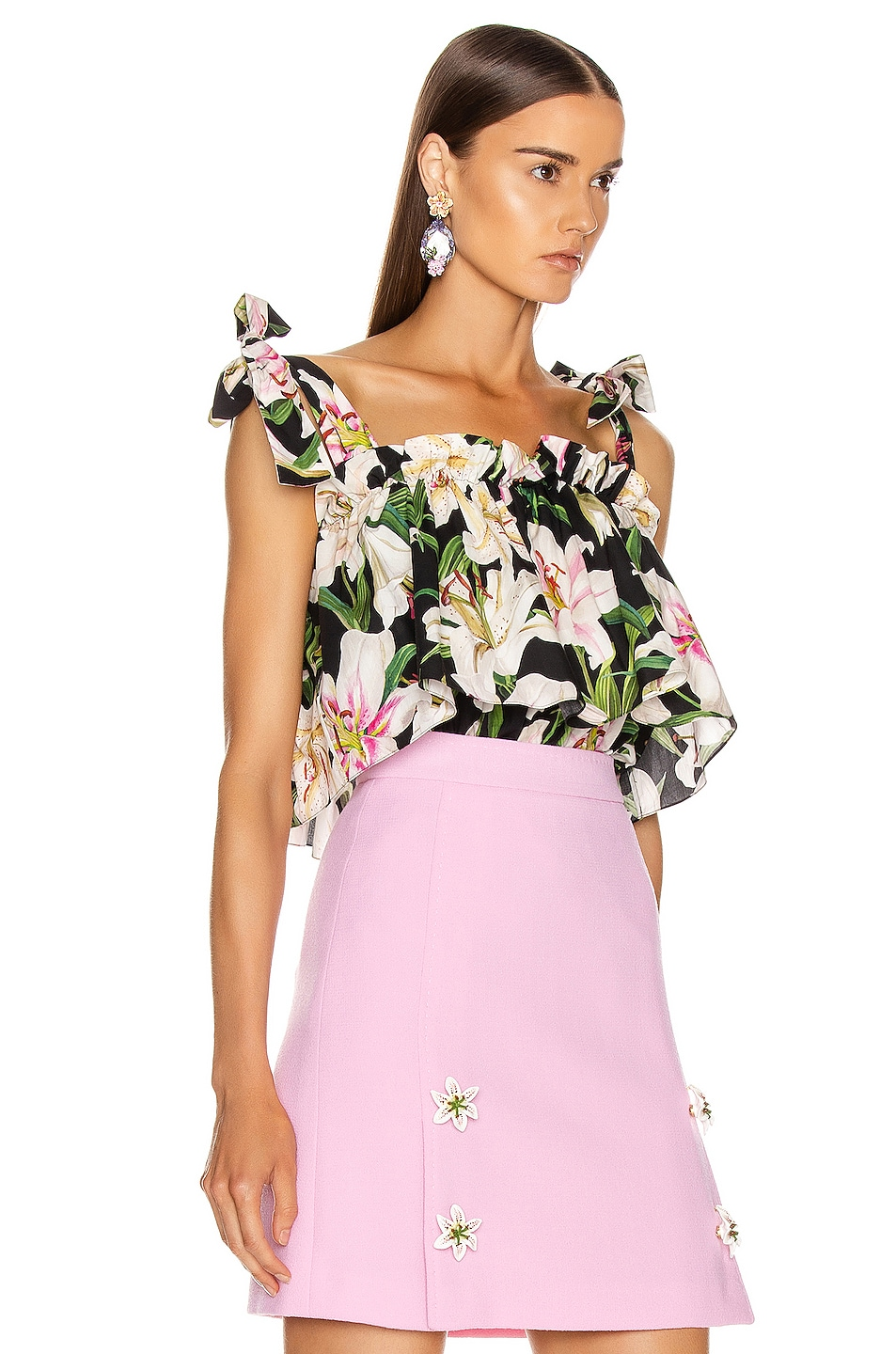 Image 2 of Dolce & Gabbana Floral Lilium Poplin Top in Black