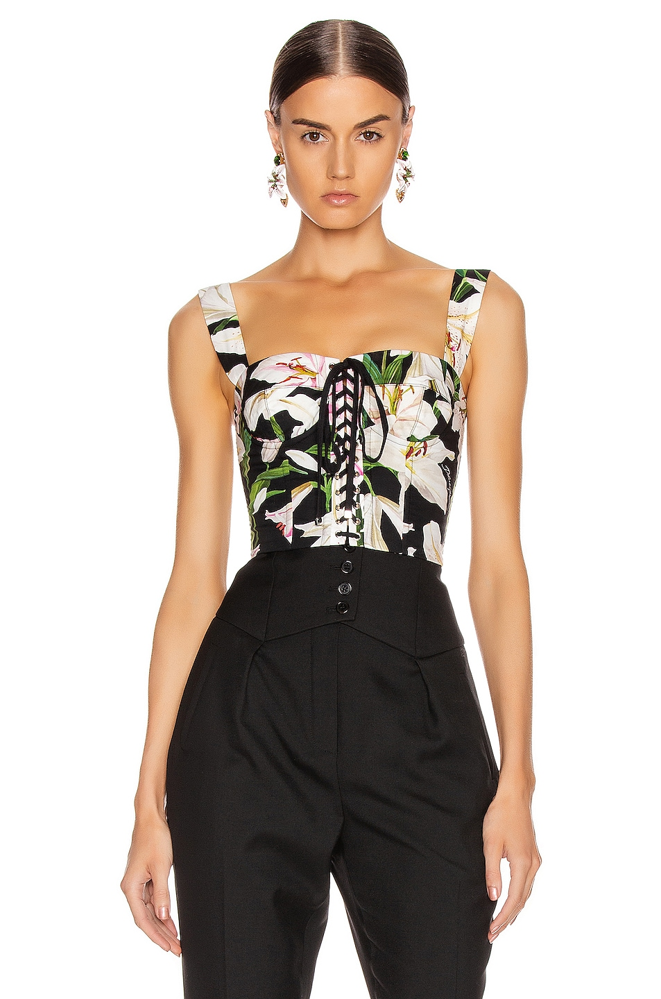 Image 2 of Dolce & Gabbana Lace Up Short Corset Top in Black Floral