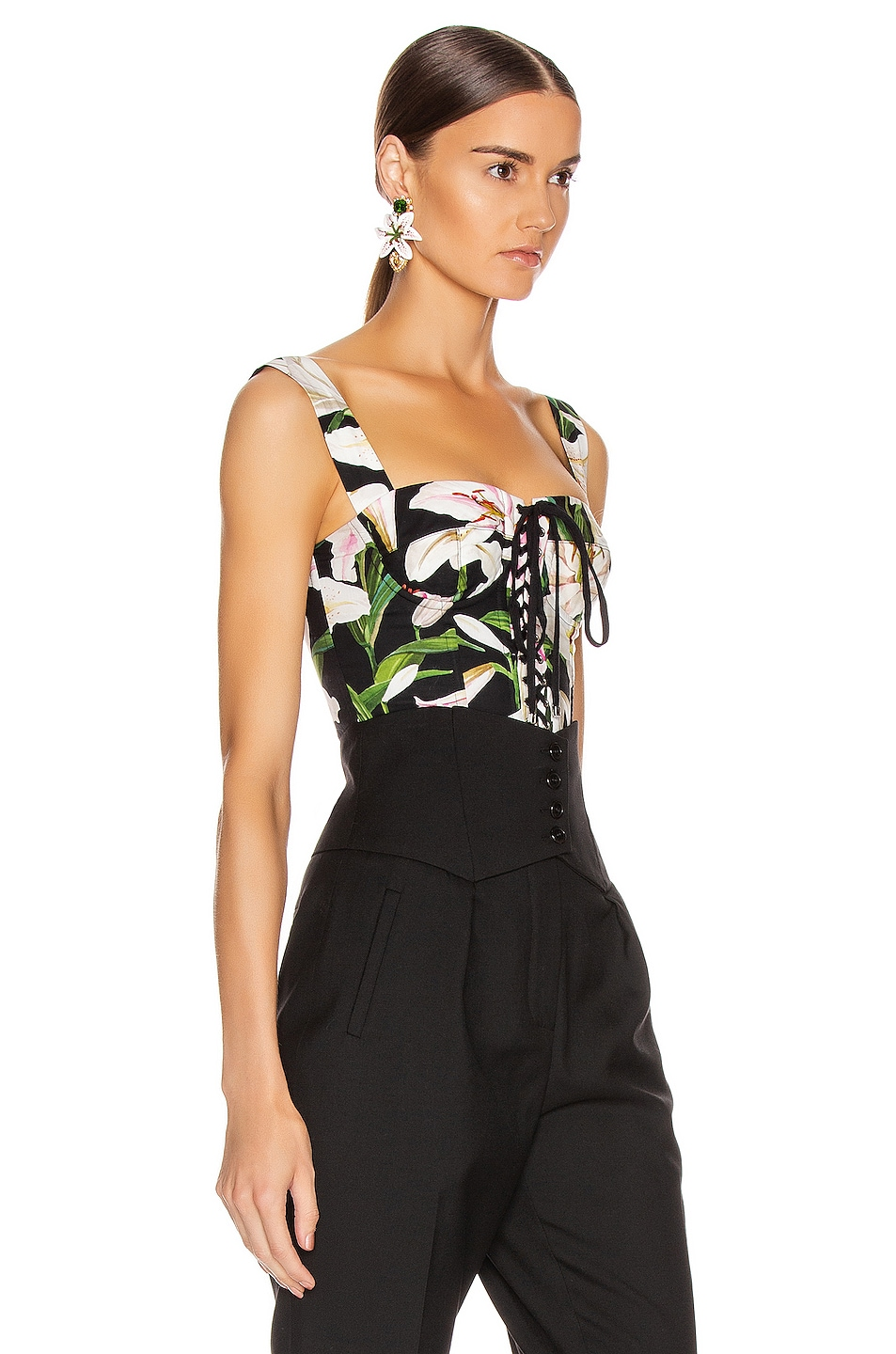 Image 3 of Dolce & Gabbana Lace Up Short Corset Top in Black Floral