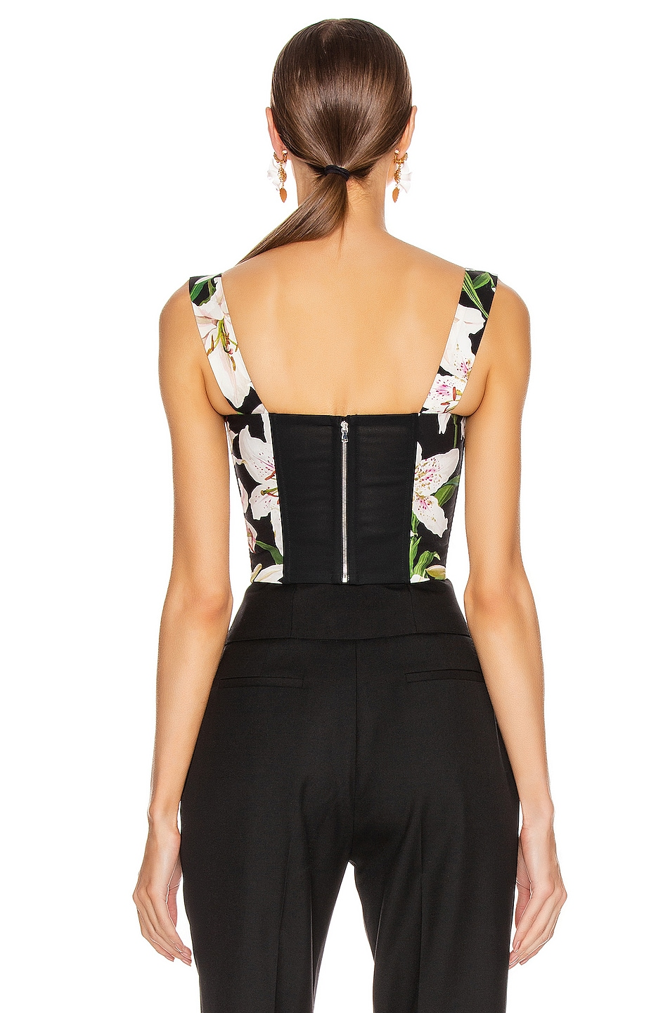 Image 4 of Dolce & Gabbana Lace Up Short Corset Top in Black Floral