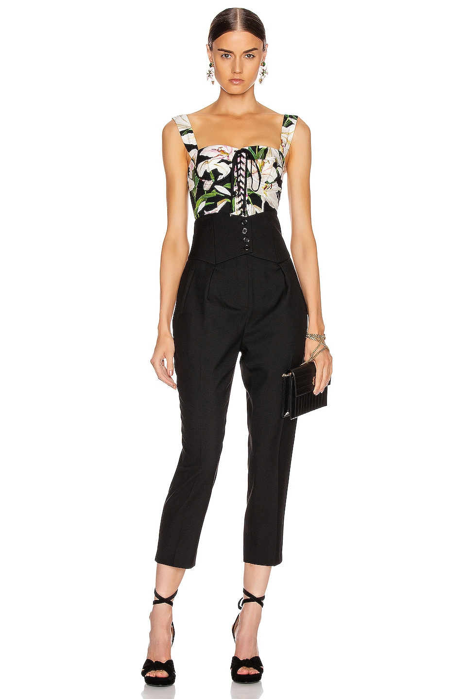 Image 5 of Dolce & Gabbana Lace Up Short Corset Top in Black Floral