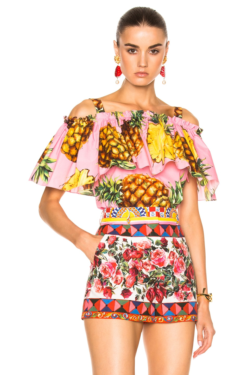 5cce10c7 Image 1 of Dolce & Gabbana Off the Shoulder Blouse in Pink Pineapple