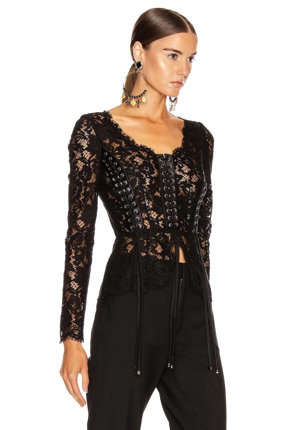 Image 2 of Dolce & Gabbana Lace Long Sleeve Top in Black