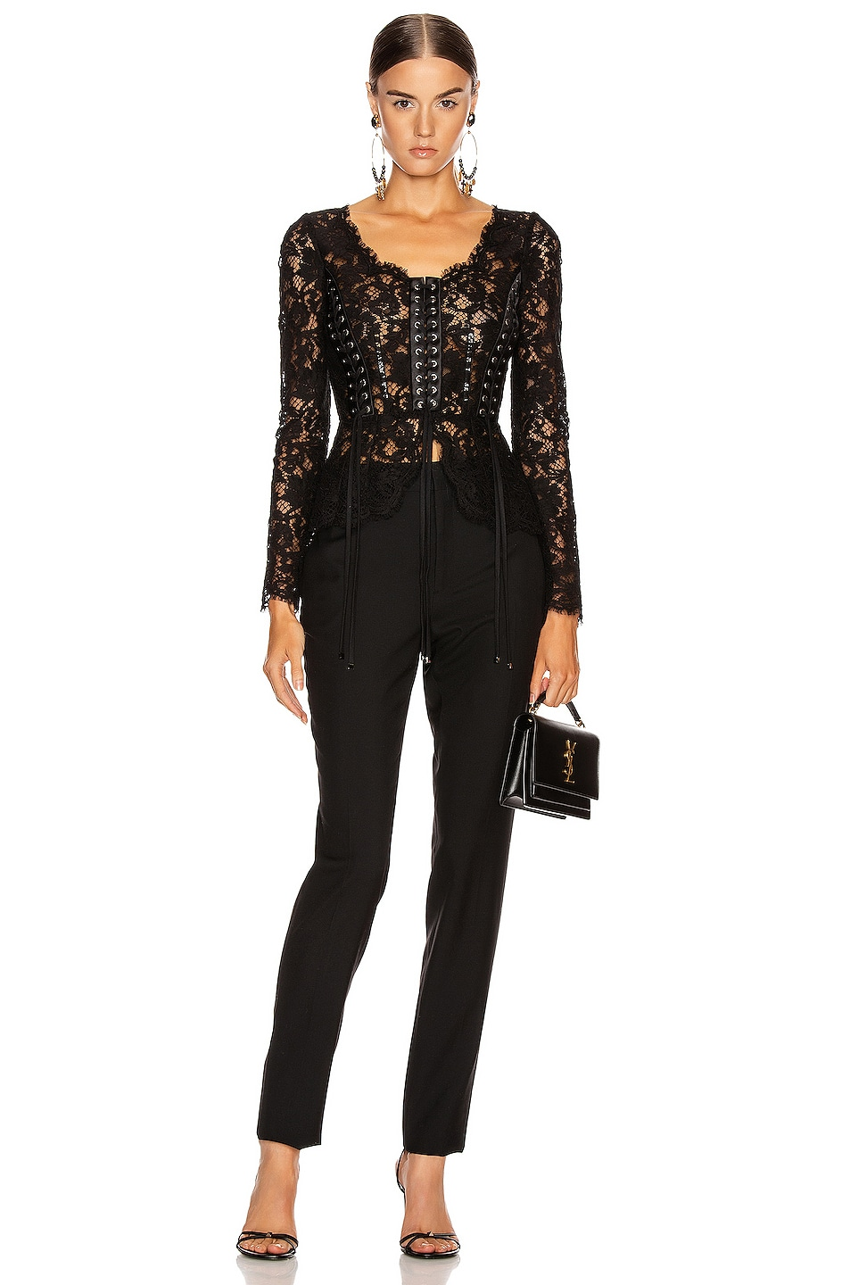 Image 4 of Dolce & Gabbana Lace Long Sleeve Top in Black