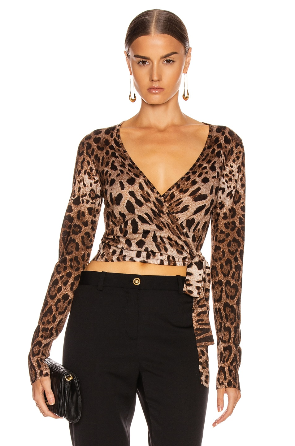 Image 1 of Dolce & Gabbana Long Sleeve V Neck Top in Leopard
