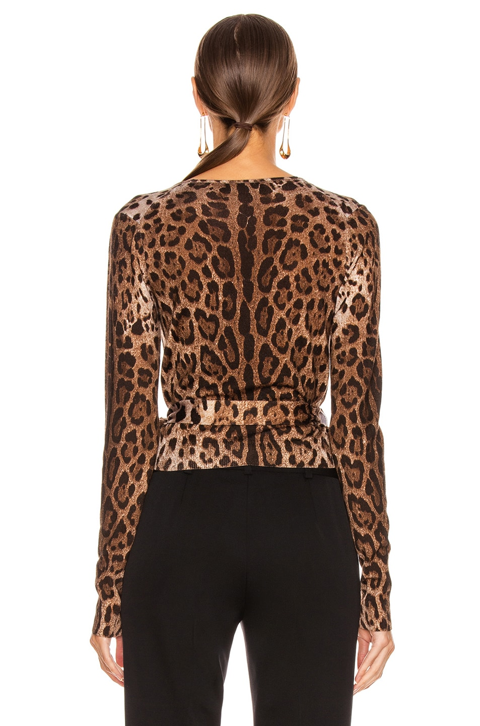 Image 4 of Dolce & Gabbana Long Sleeve V Neck Top in Leopard