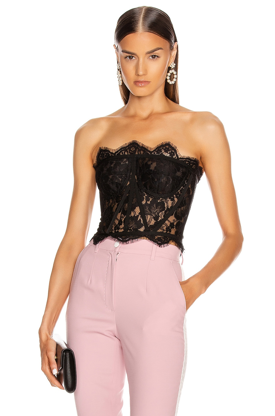Image 1 of Dolce & Gabbana Lace Bustier Top in Black