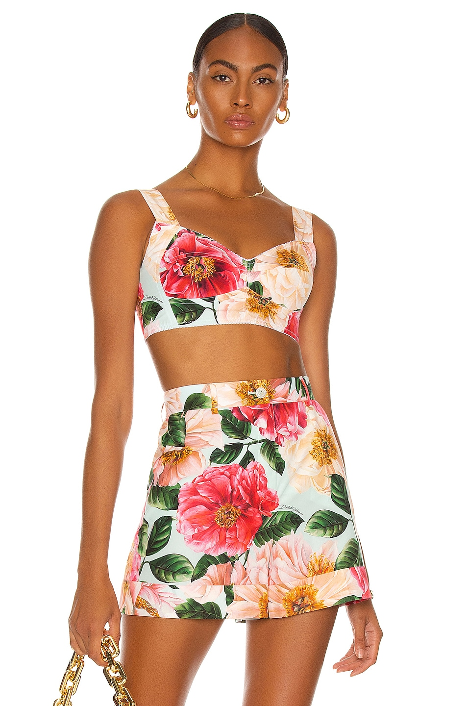 Image 1 of Dolce & Gabbana Floral Bustier Top in White & Pink