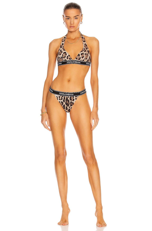 Image 1 of Dolce & Gabbana Triangle Bikini Set in Leopard