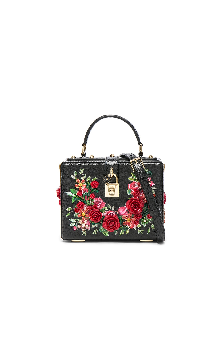 Image 1 of Dolce & Gabbana Studded Soft Bag in Black & Red