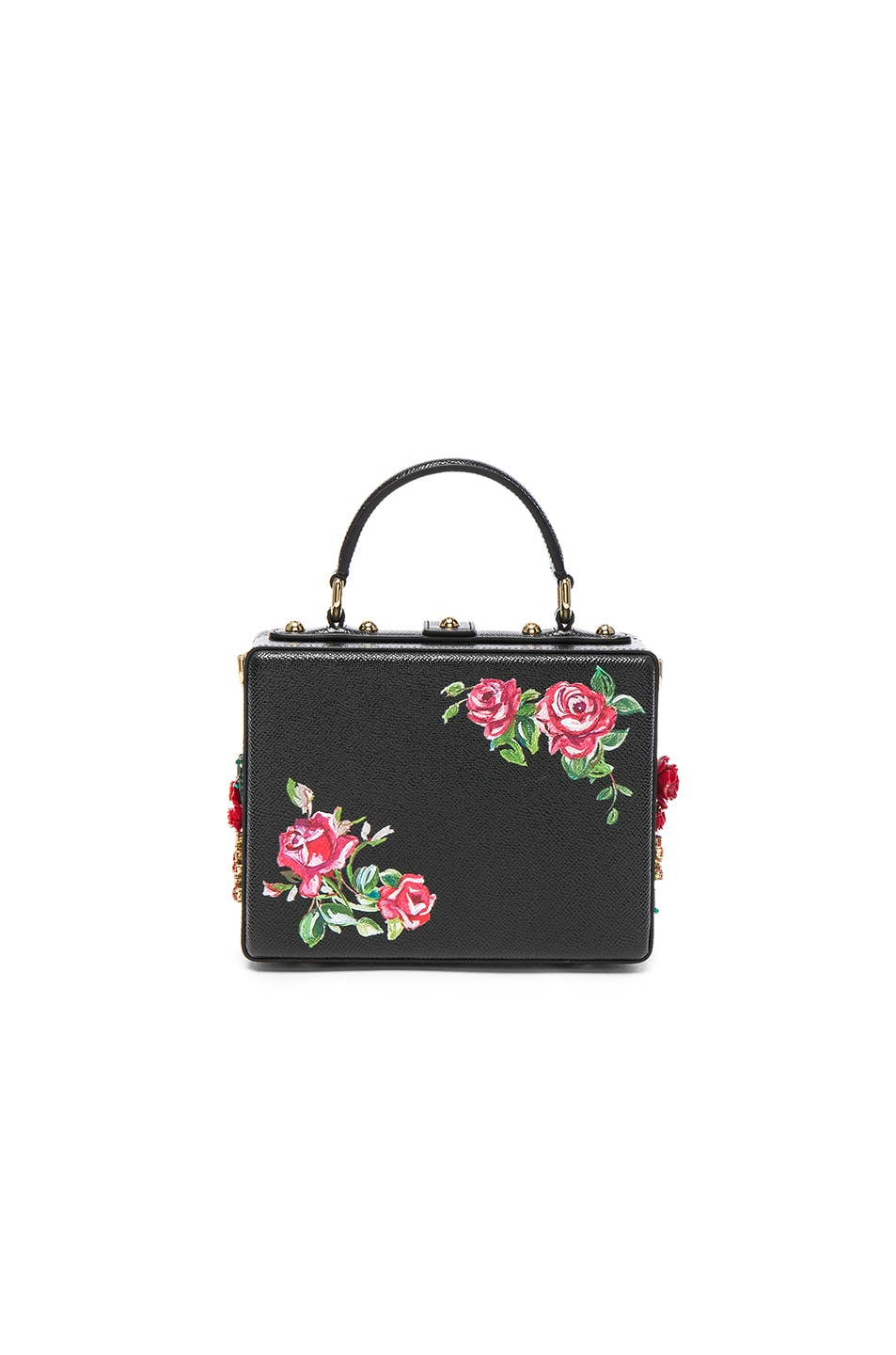 Image 2 of Dolce & Gabbana Studded Soft Bag in Black & Red