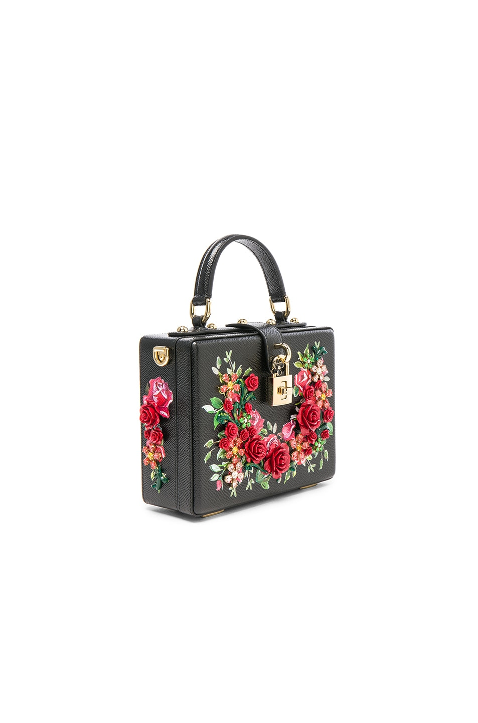 Image 3 of Dolce & Gabbana Studded Soft Bag in Black & Red