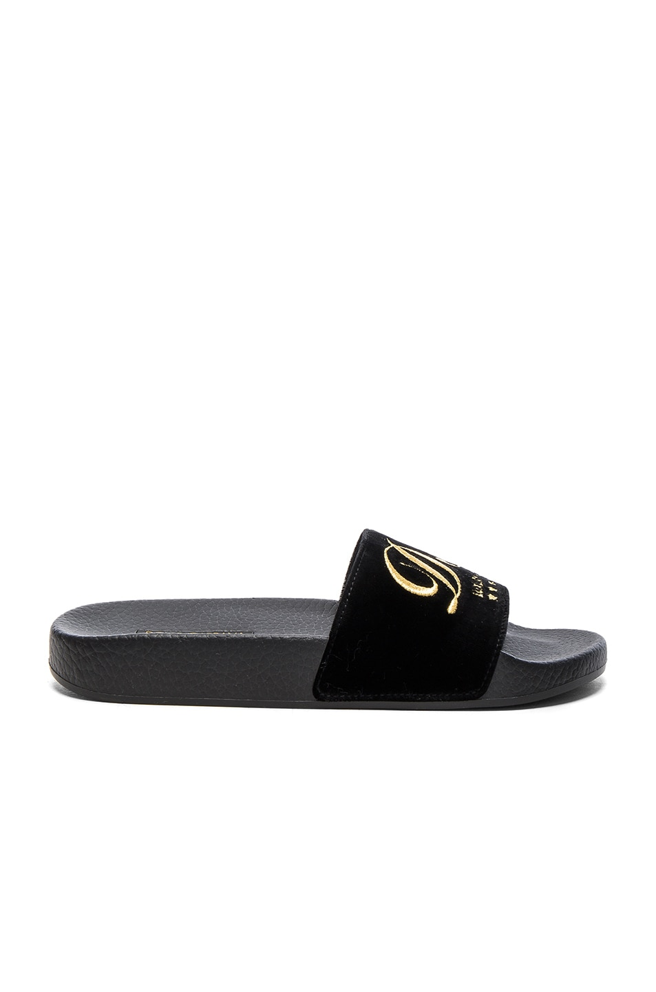 Image 1 of Dolce & Gabbana Velvet DG Pool Slides in Black