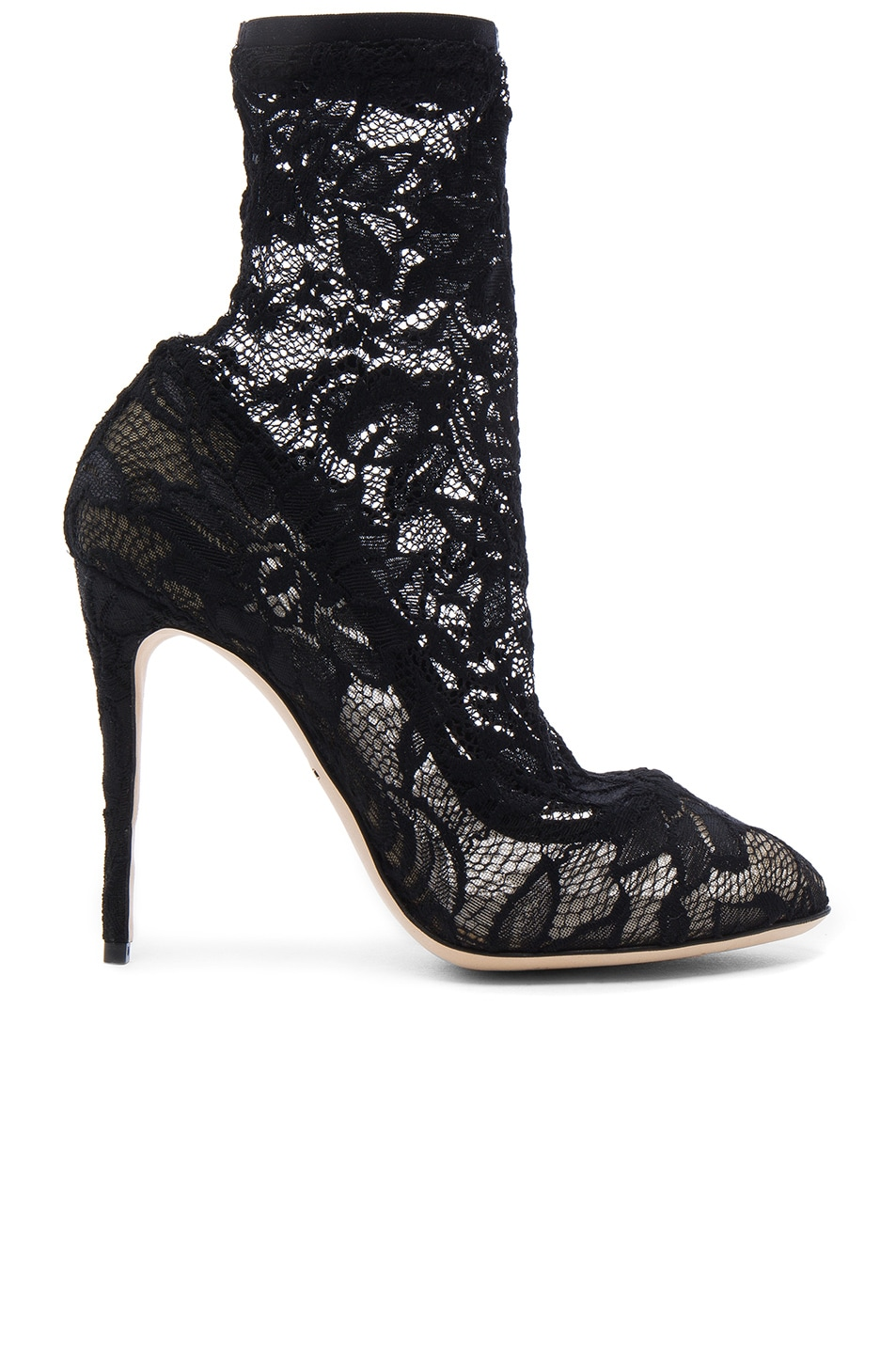 Image 1 of Dolce & Gabbana Stretch Lace Booties in Black