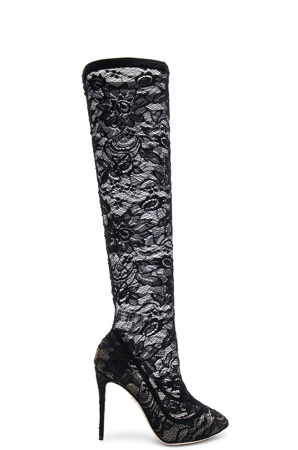 Image 1 of Dolce & Gabbana Stretch Lace Boots in Black