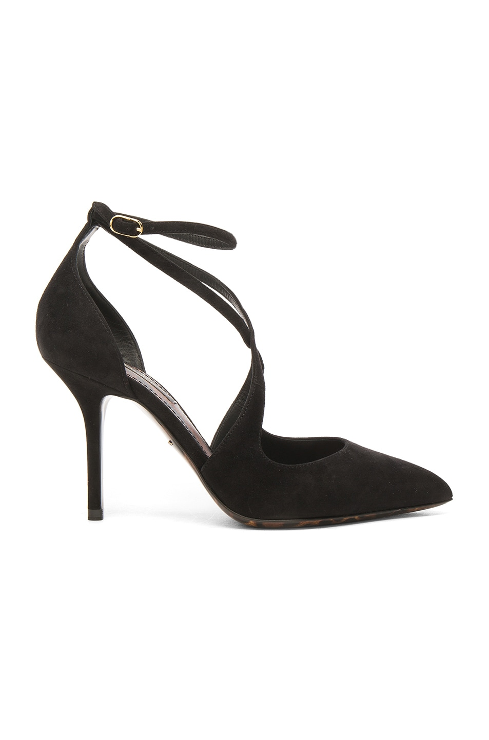 Image 1 of Dolce & Gabbana Strappy Suede Belucci Heels in Black