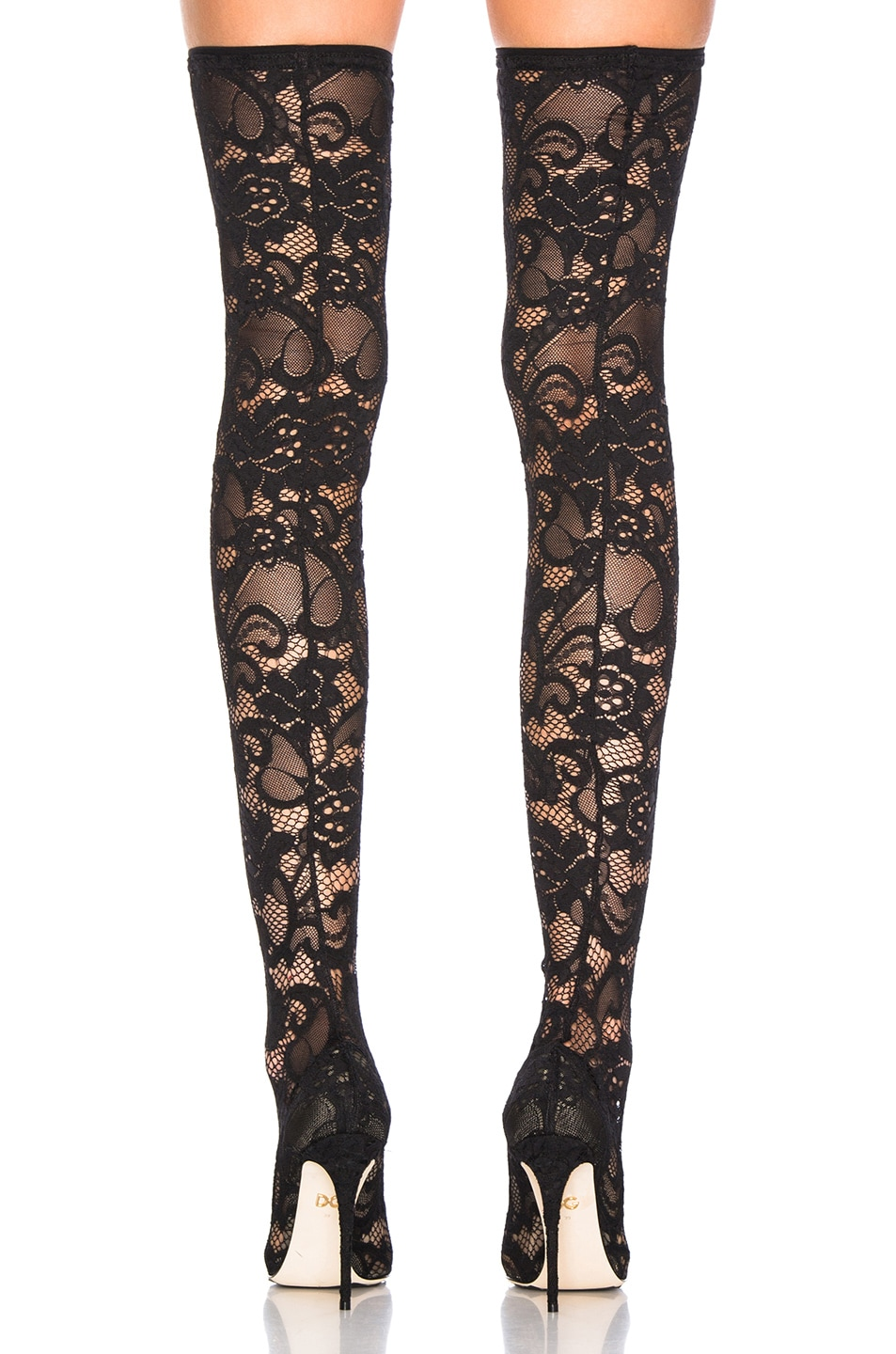 Image 3 of Dolce & Gabbana Lace Thigh High Boots in Black