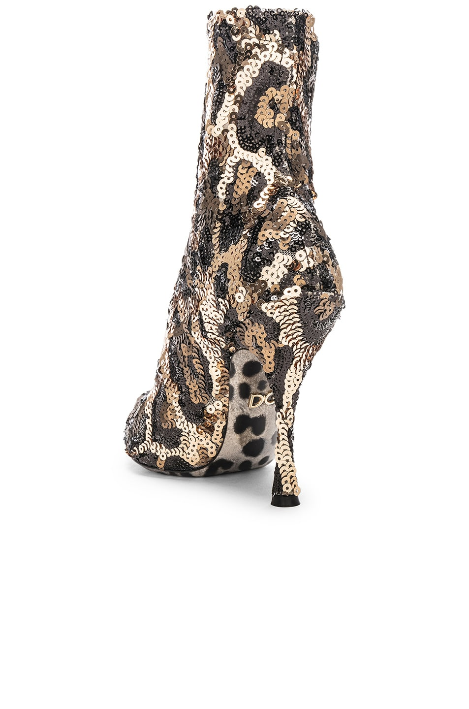 Image 3 of Dolce & Gabbana Leo Print Stretch Sequin Booties in Cheetah