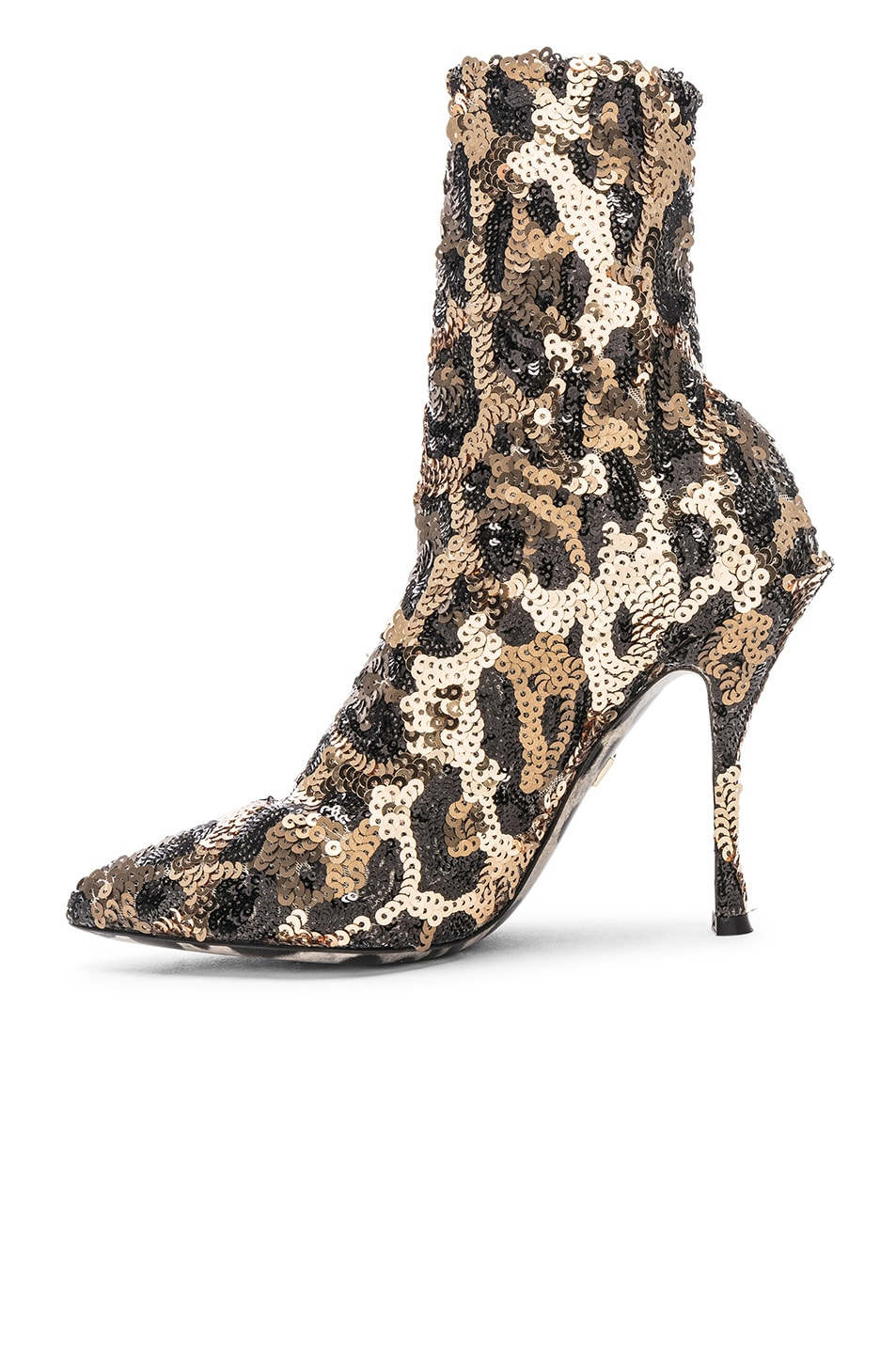 Image 5 of Dolce & Gabbana Leo Print Stretch Sequin Booties in Cheetah