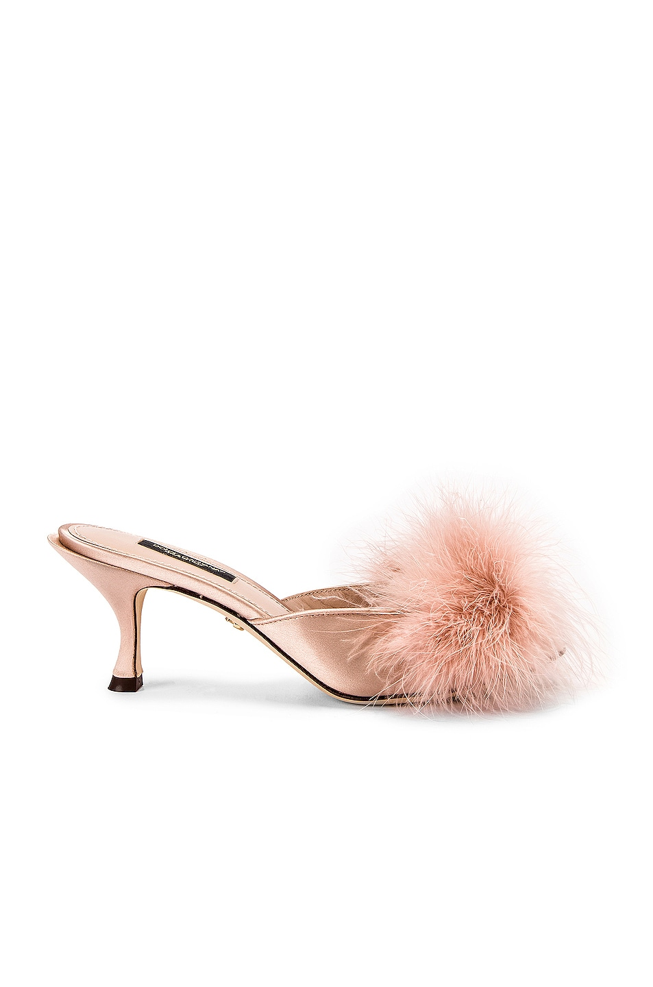 Image 1 of Dolce & Gabbana Feather Mules in Nude