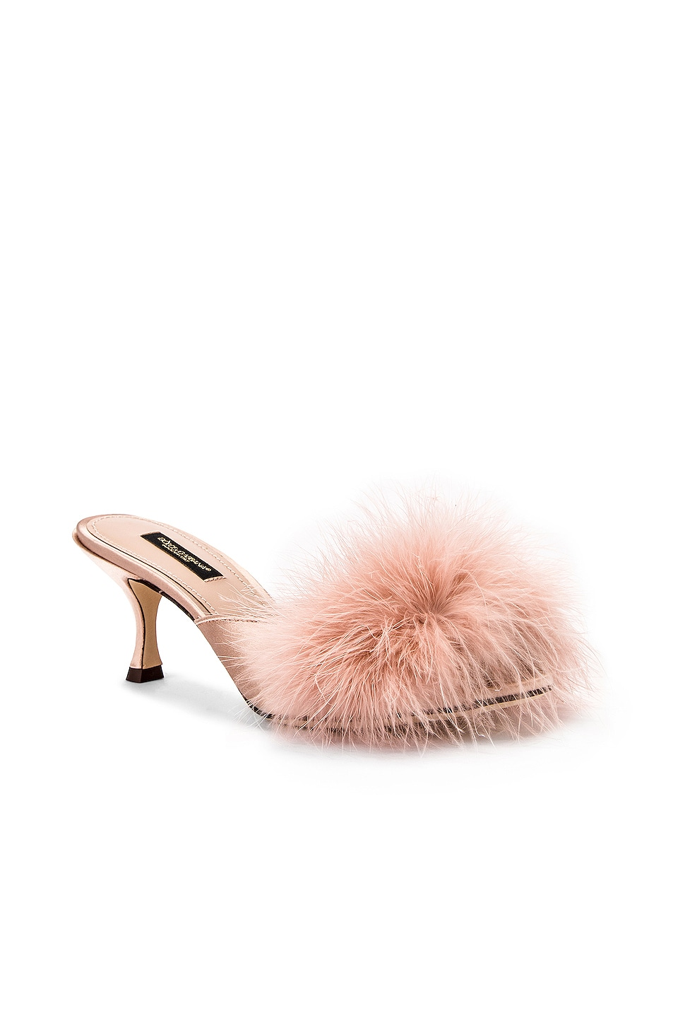 Image 2 of Dolce & Gabbana Feather Mules in Nude