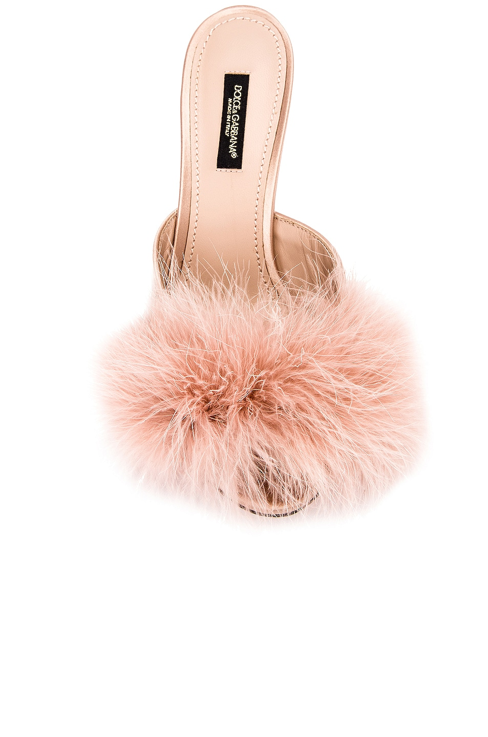 Image 4 of Dolce & Gabbana Feather Mules in Nude