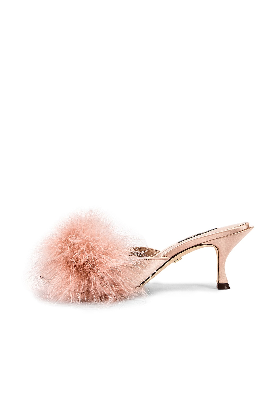 Image 5 of Dolce & Gabbana Feather Mules in Nude