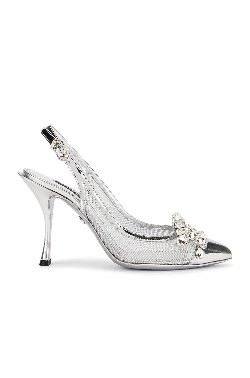 Image 1 of Dolce & Gabbana Bow Slingback Heels in Silver